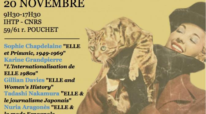 """Programme du colloque «Elle, 1945-2015:  Retour sur 70 ans d'histoire du magazine"""""""